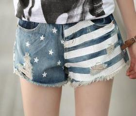 Women's Stars and Stripes Print Denim Shorts with Rips 041441